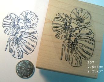 P57 Poppy flowers rubber stamp