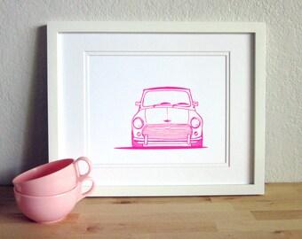 Classic Mini Cooper Bonnet Print. Hot Pink on White