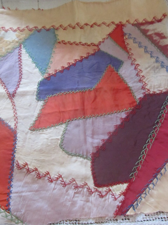 Antique Hand Embroidered Crazy Quilt Block, 100 Yrs. Old, Ready to Frame Your Choice 1 Of 3