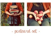 Autumn Notecard Set, 2 Photo Postcards, Fall Portraits, Apples, Books, Square, Flat Card Set, Orange, For Her, Under 20, Photography Cards