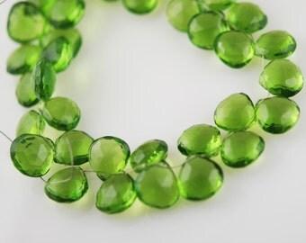 1/2 strand of Olive green color hydro quartz hearts WHOLESALE 22.00