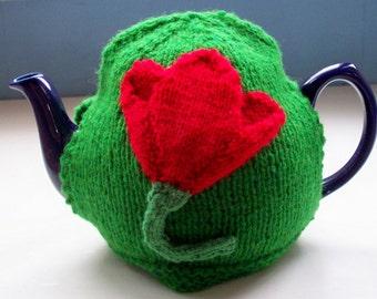 Four Seasons Tea Cosy Spring daffodil tulip unique fun knit by SpinningStreak