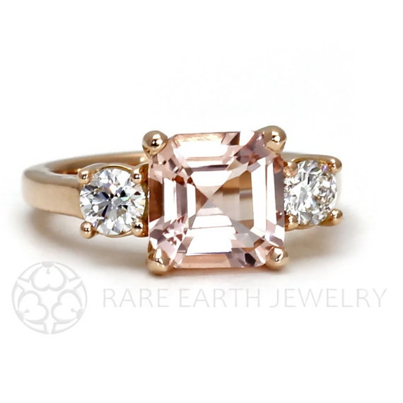 Asscher Morganite Engagement Ring 18K Morganite Ring 3 Stone Asher Conflict F
