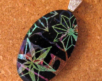 Christmas Dichroic Glass Pendant - Glass Pendant - Holiday Jewelry - Fused Glass Star Pendant