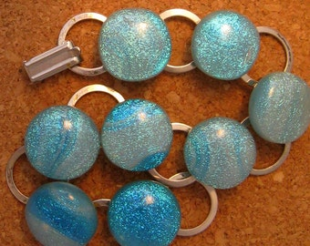 Blue Dichroic  Bracelet Fused Glass Jewelry