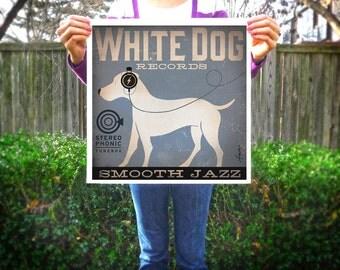 White Dog labrador records album artwork giclee archival print illustration by stephen fowler Pick A Size