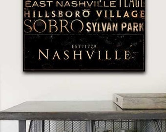 Nashville Neighborhoods Typography handmade graphic art on gallery wrapped canvas by stephen fowler