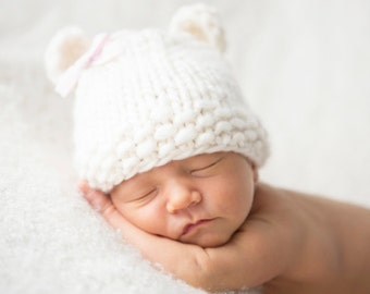 Baby Bear Cub Hat Beanie in Ivory with detachable bow Photography Prop