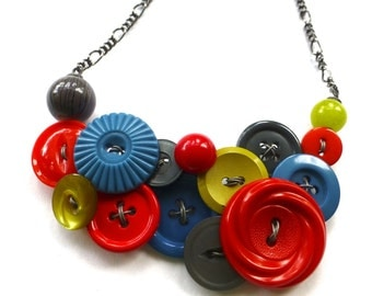 Funky Blue, Gray, Red, and Chartreuse Vintage Button Statement Necklace