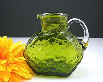 Green Art Glass Pitcher, 4 Inches Tall, Hand-blown Rough Pontil, Rippled Exterior, Applied Handle Circa 1970s, Gift Condition