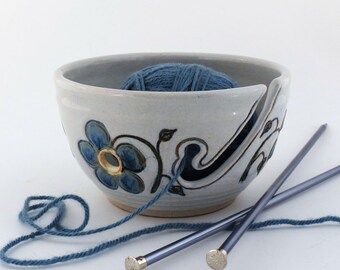Ceramic Yarn Bowl- Made to Order- Knitting  Yarn Bowl - Crochet Yarn Bowl - White with Blue Flowers - Handmade by Loma Prieta Pottery