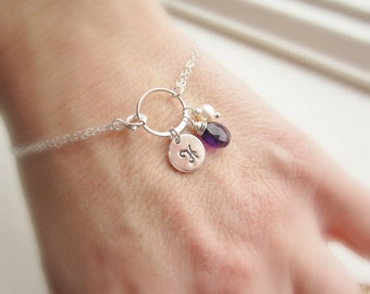 February birthstone bracelet, amethyst bracelet, personalized initial bracelet, silver initial disc, custom birhtstone, monogram bracelet,