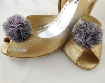 Shoe Clips -Wedding Pom Pom  - Soft Lilac Organza  - Handmade in France