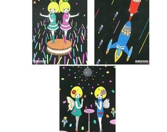 Set of Postcard  -Black-
