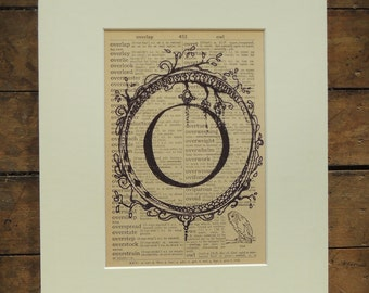"PRINT of Letter O ""cameogram"" ink drawing on vintage dictionary page"