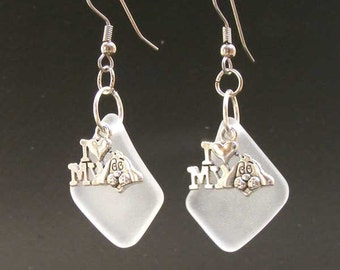 BEACH Glass and  I Love DOG charm Earrings by Lynn SRA Erg1181