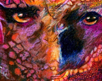 original art aceo card drawing halloween haunted zombie eye abstract colorful