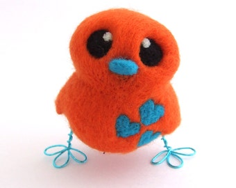Needle Felted Orange and Turquoise Love Bird