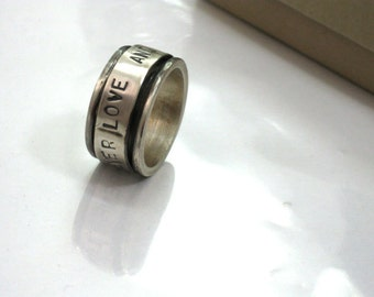 Stamped Ring, Mens Ring, Men Silver Ring,  Wide Band Ring, Spinner Ring, Hand Stamped, Mens Wedding Band, Unisex Ring, Hammered Ring