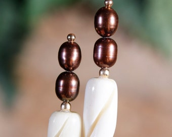 """Freshwater Pearls and Gold-Filled Spiral Bone Hair Sticks - 4-1/2"""""""