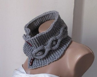 Knitted cowl grey neck wrap,neck warmer warm,winter,fashion,soft,accessorie