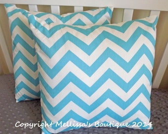 SALE* Custom Designer Home Decor Pillow Set of 2 Aqua Girly Blue Chevron With Removable Inserts READY To SHIP 16 x 16