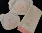 3 piece Monogrammed Baby Gift Set- Burp Cloth, Bib and Bloomer Set | Personalized | Monogram | Lucy's Pocket