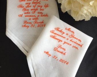 Mother of the Bride Embroidered Wedding Handkerchief   MOB   Monogrammed   Hankie  Hankerchief    Personalized   Monogram   Lucy's Pocket