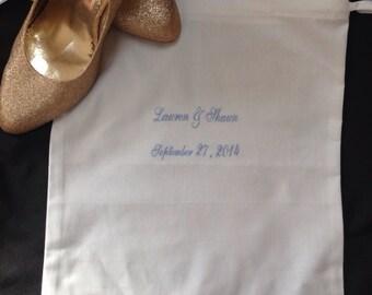 Embroidered Bridal Linen Shoe Bag | Bride| Personalized | Monogrammed | Monogram | Lucy's Pocket