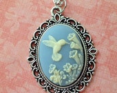 Hummingbird and Flower Cameo Necklace