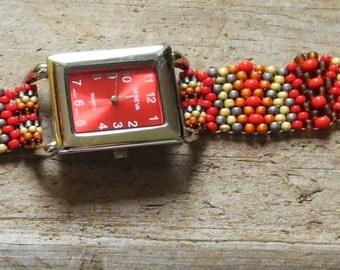 Jewelry - Father Time Red  - Free Form Peyote Stitch Beaded Watch Bracelet - Bead Weaving