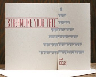 Streamline Your Tree with Icicles Deco-Inspired letterpress holiday card Set of 6