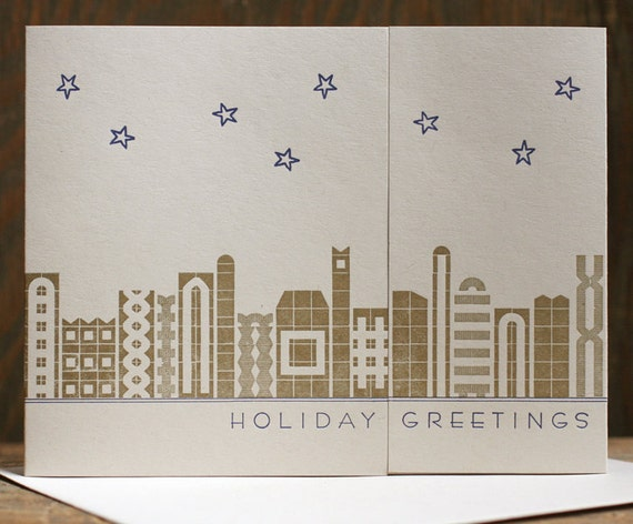 Holiday Greetings Deco-Inspired letterpress cards SET OF 6