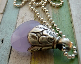 Handcrafted Tibetan Lavender Purple Quartz Sterling Silver Pendant Charm Bohemian Hippie Gypsy Festival Gift For Her OOAK Pendant Necklace
