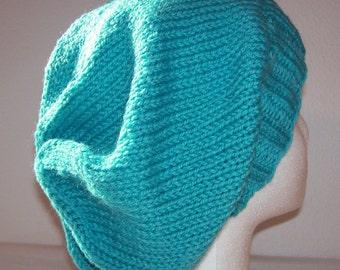 Wool Slouch Hat - Slouchy Knit Beanie - Hand Knit Hat - Aquarium - Aqua