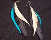 Leather Feather Earrings - brown, turquoise and tan
