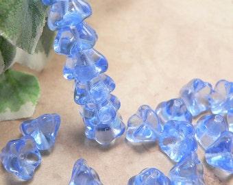 Light Sapphire Blue Czech Glass Bell Flower Beads 6x8mm (25)