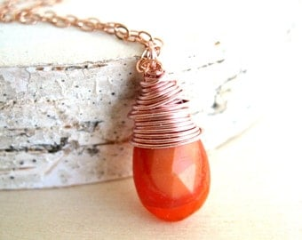 Fire Opal Necklace Rose Gold October Birthstone Fall Jewelry Orange Copper Under 50