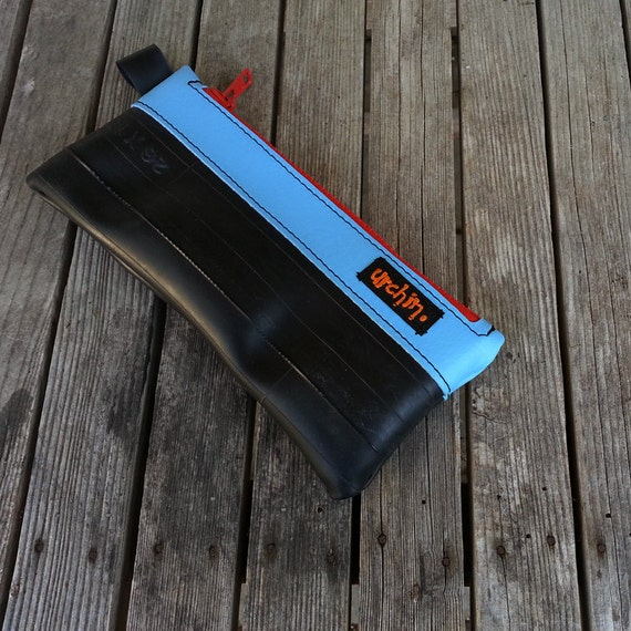 Eco friendly peata pocket made from reclaimed bike tubes and vinyl