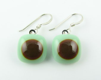 Mint & Brown Fused Glass Earrings. Made To Order. Fused Glass Jewelry. Handcut and designed in Texas. Simple Earrings. Everyday Jewelry.