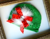 Baby Christmas Beanie and Bow set- deep lime, red and white, bow and hat