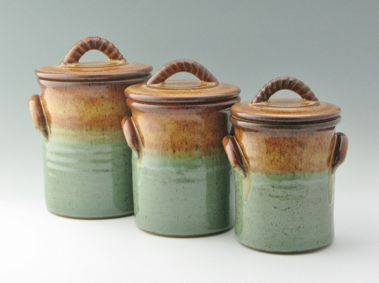 Pottery Canister Set with 3 Sizes with Lids in Honey Brown and