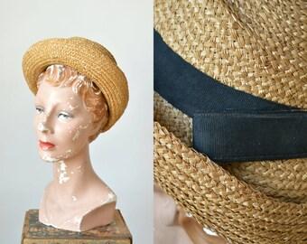1910s Straw Hat --- Vintage Edwardian Golden Straw Hat
