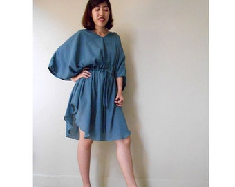 Blue Soft Cotton Kaftan Dress Kimono Butterfly Boho Dress S-L (KF5)