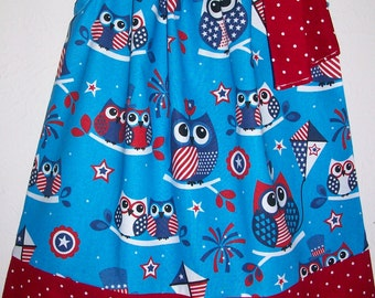 Girls Dress Pillowcase Dress Patriotic Dress Owl dress 4th of July dress Red White and Blue Stars and Stripes baby dress toddler dress