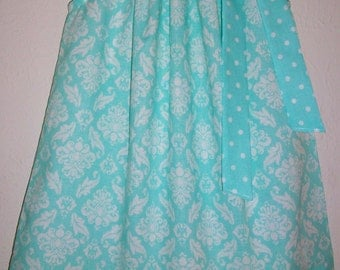 SALE Girls Dress Pillowcase Dress Damask Dress Easter Dress Spring Dress baby dress toddler dress Elsa Dress Aqua Dress Kids Clothes