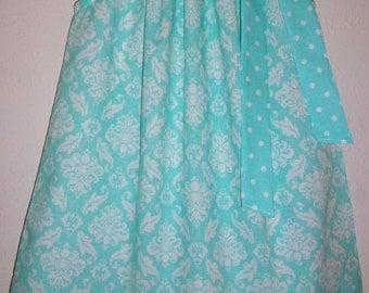 Girls Dress Pillowcase Dress with Damask Dress Summer Dress baby dress toddler dress Elsa Dress Aqua Dress Kids Clothes infant dress