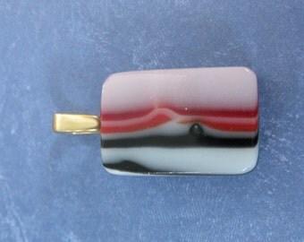 Striped Black White Red Pendant, Fused Glass Pendant, Red and Black, Ready to Ship, Fused Glass Jewelry, Large Gold Bail - Sadie - 3910 -4