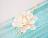 COUTURE CLAY - 2 inch White Elongated Gardenia Flower with Handwired Rhinestones with Gold Settings
