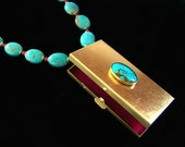 Royston Turquoise Necklace Vintage Locket Pendant Keepsake Box Treasure Ruby Pink Magenta Aventurine Aqua Blue Pink Owl Jewelry